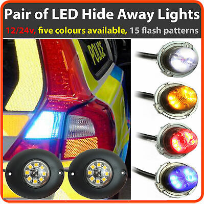 12v 24v Flashing LED HIDE AWAY LIGHTS, Light Bar Recovery Strobe Amber Beacon • 52.50£
