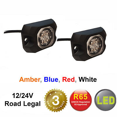 12/24v SURFACE MOUNT LED HIDE AWAY LIGHTS Light Bar Recovery Strobe Amber Beacon • 54.99£