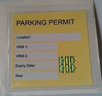 1 X Universal Clear Square Car Parking Permit Holder Wallet Pocket 100mm X 100mm • 2.49£