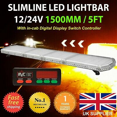 12/24v LED Amber Light Bar Strobe Beacon Recovery Warning 150cm 1500mm 1.5m 59  • 195£