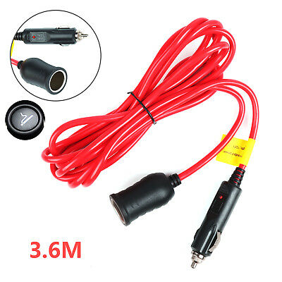 12V 3.6M Extension Lead Charger Power Socket Adapter Car Cigarette Lighter Cable • 5.39£