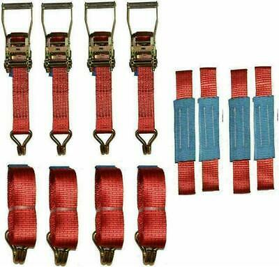4 X 4mtr Red Recovery Strap Standard Handles Soft Ring Transporter Ratchet… • 38.31£