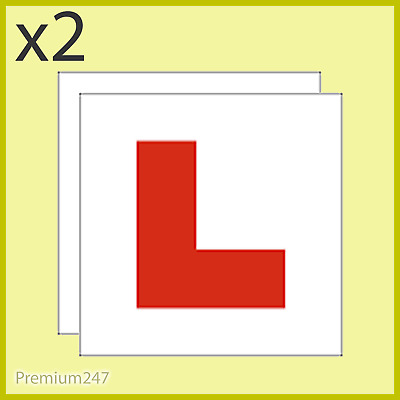 2 X L Plate Magnetic Exterior Car Pair New Pair Car Learner Plates Secure & Safe • 1.79£