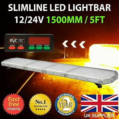 12V 150cm 1500mm 1.5m 59  LED Amber Light Bar Strobe Beacon Recovery Warning • 195£