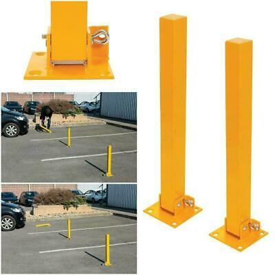 NEW BOXED 2x FOLD DOWN PARKING BARRIER SECURITY POST BOLLARD LOCKABLE DRIVEWAY • 26£