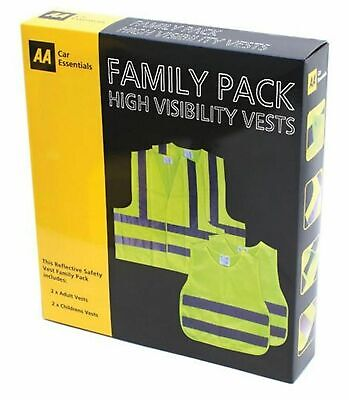 High Visibility Safety Vests  AA Family Pack Reflective Hi Vis Yellow Waistcoat • 5.59£