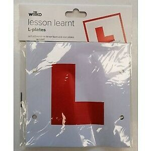 Learner Plates Wilko Lesson Learnt Self Adhesive Or Tie-On Front & Rear L-Plates • 1.95£