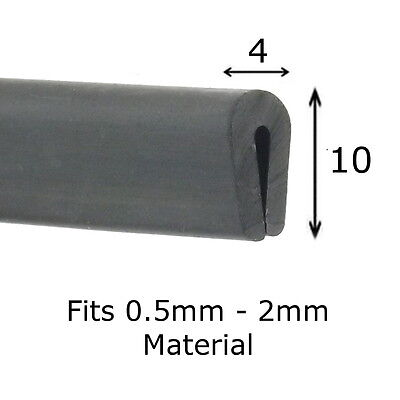 Black Rubber U Channel Edging Trim Seal 10mm X 4mm Fits 0.5mm - 2mm • 2.99£