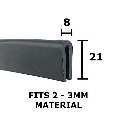 Large Rubber U Channel Edging Trim Seal 21mm X 8mm Fits 2mm-3mm The Metal House • 3.69£