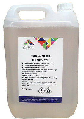 Azure Tar & Glue Remover Easy Rinsing Removes Tar Adhesives Hydrocarbon Wax - 5L • 19.99£