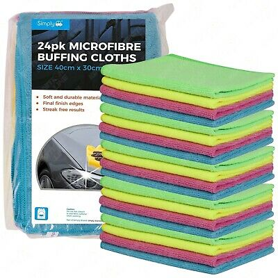 24 X Large Microfibre Cloths Car Cleaning Valeting Waxing Detailing Polishing • 12.99£