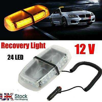 LED 24W 12V Flashing Beacon Strobe Light Magnetic Amber Vehicle Roof Lightbar • 24.99£