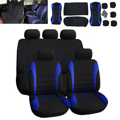 Universal Car Seat Covers Full Set Sporty Blue/Black Washable Compatible • 14.39£