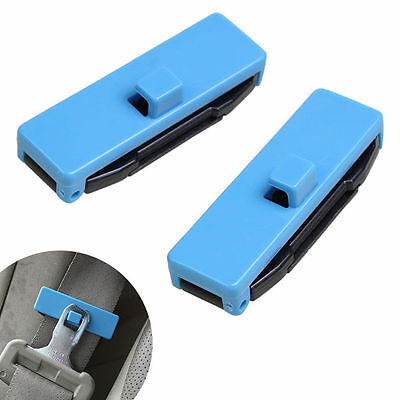 1 Pair Car Auto Seat Belt Adjuster Locking Stopper Safty Aid. Blue. UK Supplier • 4.25£