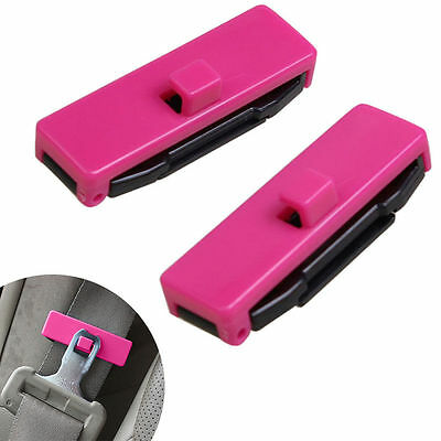 1 Pair Car Auto Seat Belt Adjuster Locking Stopper Safety Aid. Pink. UK Supplier • 4.25£