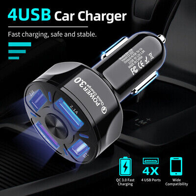 FAST CAR CHARGER 4 USB Port For Iphone Samsung Cigarette Lighter Socket Adapter • 5.49£
