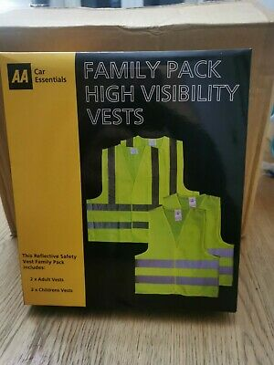 High Visibility Safety Vests  AA Family Pack,  Box Of 6 Sets • 23.99£