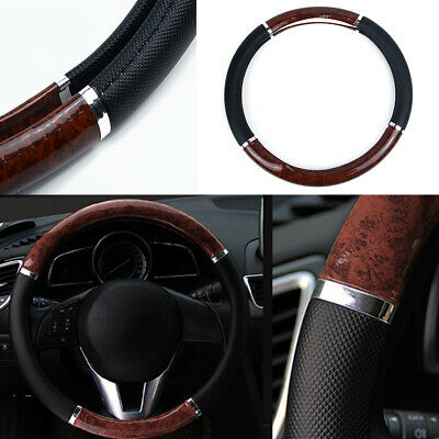 Soft Leather Car Steering Wheel Cover Good Grip Accessories For 15 /37CM~38CM UK • 15.58£