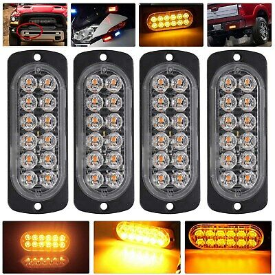 4x 12LED Amber Recovery Strobe Flashing Grille Light Car Beacon Lamp Waterproof • 11.69£