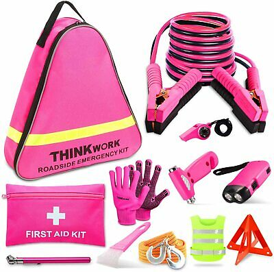 THINKWORK Car Emergency Kit For Teen Girl And Lady's Gifts, Pink Emergency • 47.99£