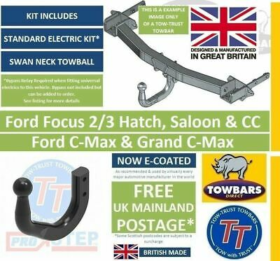 Swan Neck Towbar For Ford Focus 2/3 Hatch, C-MAX, Cmax MPV Tow-Trust TFD4SN • 122£