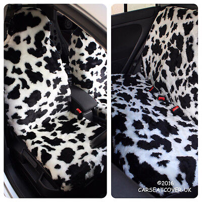 Full Set Of Furry Cow Print Car Seat Covers - Fits Most Cars • 54.99£