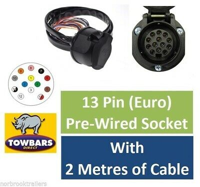 13 Pin Euro Socket Pre-Wired 2 Metres Sheathed Cable Towing Towbar Electrics • 22£