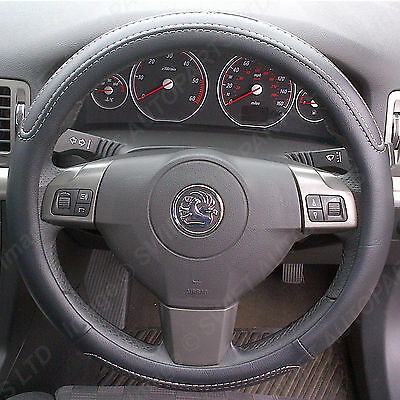 STEERING WHEEL COVER / GLOVE Black + WHITE Stitching Leather Look • 8.64£