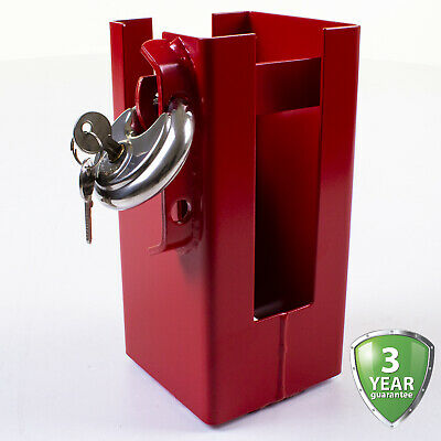 Heavy Duty Trailer Coupling Lock Universal Box Hitch Safety Security Red Steel • 16.99£