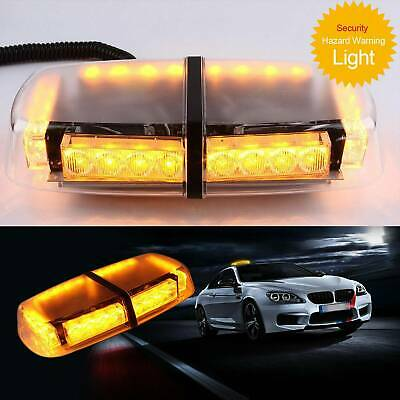 24W 12V Amber LED Vehicle Roof Lightbar Flashing Beacon Strobe Light Magnetic • 23.99£