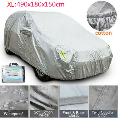 All Weather Heavy Duty Car Rain Cover 2 Layer Waterproof Cotton Lined Large Size • 18.99£