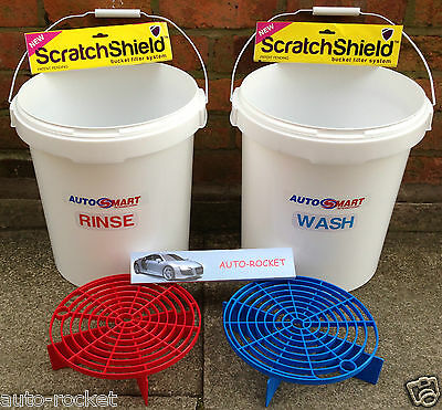 2 X Grit Guard Car Wash Buckets, Red & Blue Shields, With Autosmart Labels 20L • 25.95£