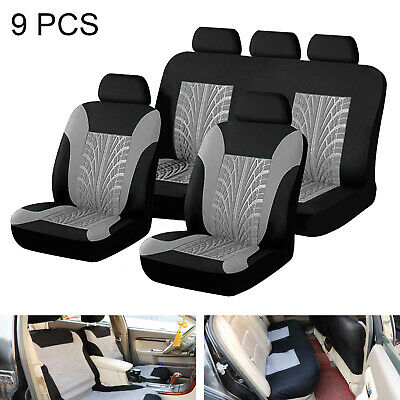 9Pcs Grey Car Seat Covers Full Set Universal Protector Washable Front Rear New • 12.29£
