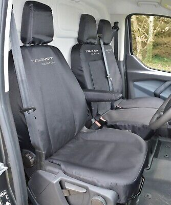 Ford Transit Custom - Black Tailored Heavy Duty Van Seat Covers For 2013 - 2020 • 84.99£