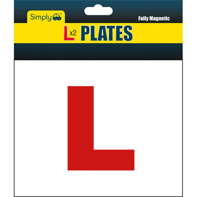 2 X FULLY MAGNETIC L PLATES SECURE Quick Easy To Fix Learner Sign • 2.89£