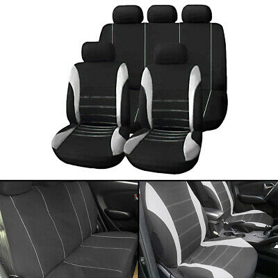 Universal Car Seat Covers Full Set Sporty Grey/Black Washable Compatible • 12.99£