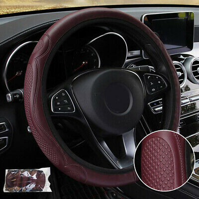 Car Steering Wheel Cover Pouch Anti-Slip Embossed Leather Universal 38cm UK • 2.97£