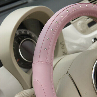 NEW Universal PINK Steering Wheel Cover Leather 36,5 - 38 Cm // MOTOS • 14.99£