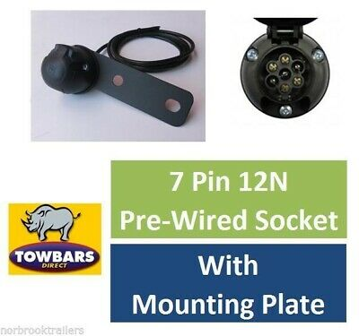 7 Pin Pre Wired Single Socket 2mtr 12N With Socket Mounting Plate Trailer Towing • 8.95£