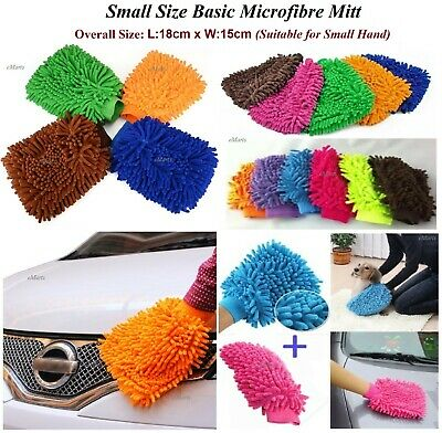 Small Microfibre Car Wash Washing Cleaning Mitt Glove Polishing Shampoo Duster • 2.15£