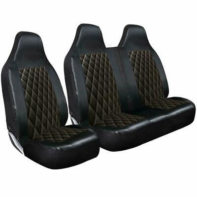 Ford Transit Mk6 Mk7 Mk8 Van Seat Covers Quilted Diamond Leather 2-1 • 30.95£