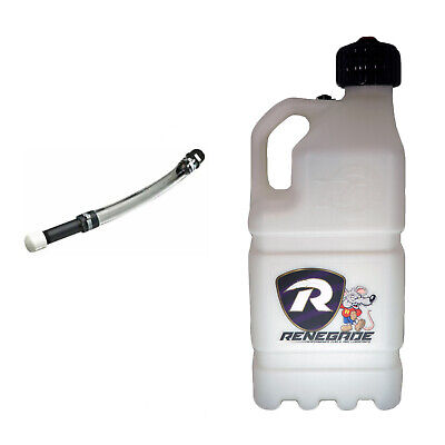 Renegade Racing Fuel 20 Litre WHITE Motorsport Container WITH Filler Tube • 35£
