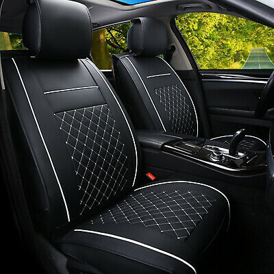 Black White Car Seat Covers Cushions Protectors PU Leather Front Set Universal • 13.89£
