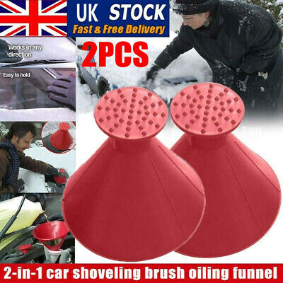 2X Magical Car Windshield Ice Snow Remover Scraper Tool Shaped Round Funnel Cone • 5.59£