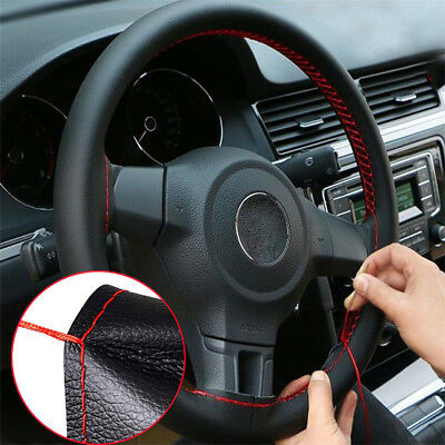 14  - 15  Soft Leather Steering Wheel Cover - Black With Red Cross Stitching UK • 8.99£
