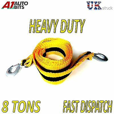 8000kg 8T 3M Tow Towing Pull Rope Strap Heavy Duty Road Recovery Car Van 4x4 • 8.79£