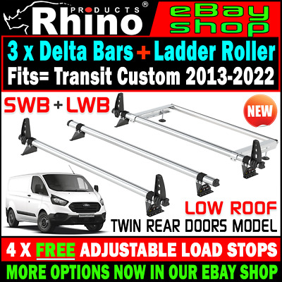 (Low Roof,Twin Rear) 3x Rhino Bars Roof Rack And Rear Roller Ford Transit Custom • 174.95£