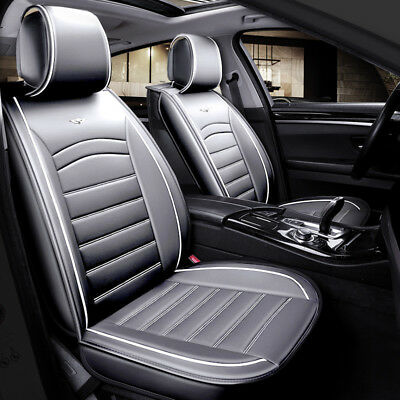 Deluxe Quality Grey 1+1 PU Leather Front Seat Covers Padded For  • 31.99£