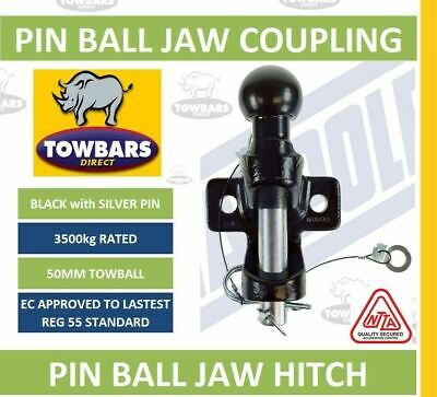 Black Ball & Pin Hitch Jaw Coupling 50mm Towball 3500kg 3.5Tonne Rated MP87 • 29.45£