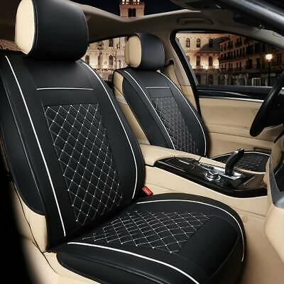 Universal Front Seat Cover Cushion Breathable PULeather Car Seat Pad Black White • 12.59£